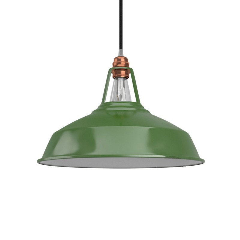 Vintage kovové tienidlo v lesklej zelenej farbe s bielym vnútrom, priemer 38cm (1)