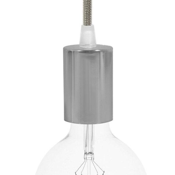 Chrómové závesné svietidlo so šedým textilným káblom