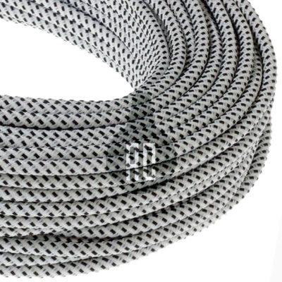 Kábel dvojžilový v podobe textilnej šnúry so vzorom, BiancoNero, 2 x 0.75mm, 1 meter (2)