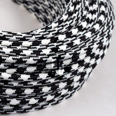 Kábel dvojžilový v podobe textilnej šnúry so vzorom WhiteBlack, 2 x 0.75mm, 1 meter (2)