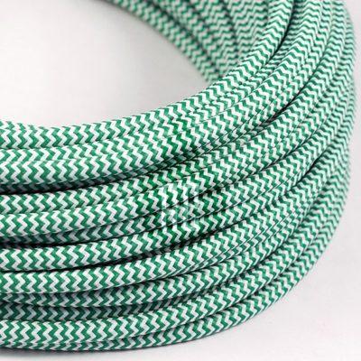 Kábel dvojžilový v podobe textilnej šnúry so vzorom WhiteGreen, 2 x 0.75mm, 1 meter (2)