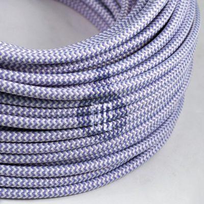 Kábel dvojžilový v podobe textilnej šnúry so vzorom WhitePurple, 2 x 0.75mm, 1 meter (2)
