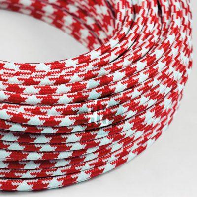 Kábel dvojžilový v podobe textilnej šnúry so vzorom WhiteRed, 2 x 0.75mm, 1 meter (2)
