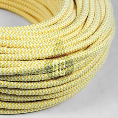 Kábel dvojžilový v podobe textilnej šnúry so vzorom WhiteYellow, 2 x 0.75mm, 1 meter (2)