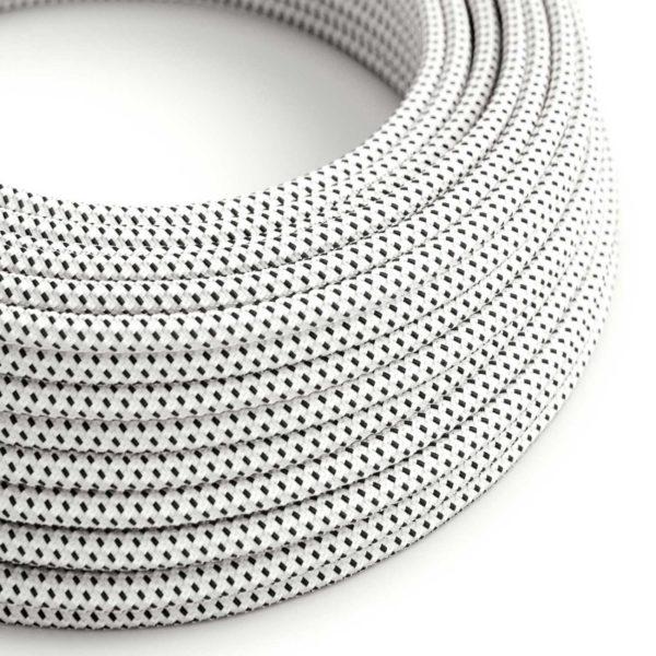 Kábel dvojžilový v podobe textilnej šnúry so vzorom, Bianco/Nero, 2 x 0.75mm, 1 meter