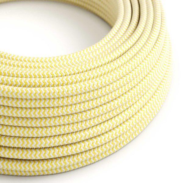 Kábel dvojžilový v podobe textilnej šnúry so vzorom White/Yellow, 2 x 0.75mm, 1 meter