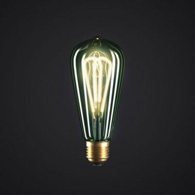 Edison Soft žiarovka, Smaragdová LED žiarovka - TEARDROP - 5W, E27, Stmievateľná, 2200K (2)