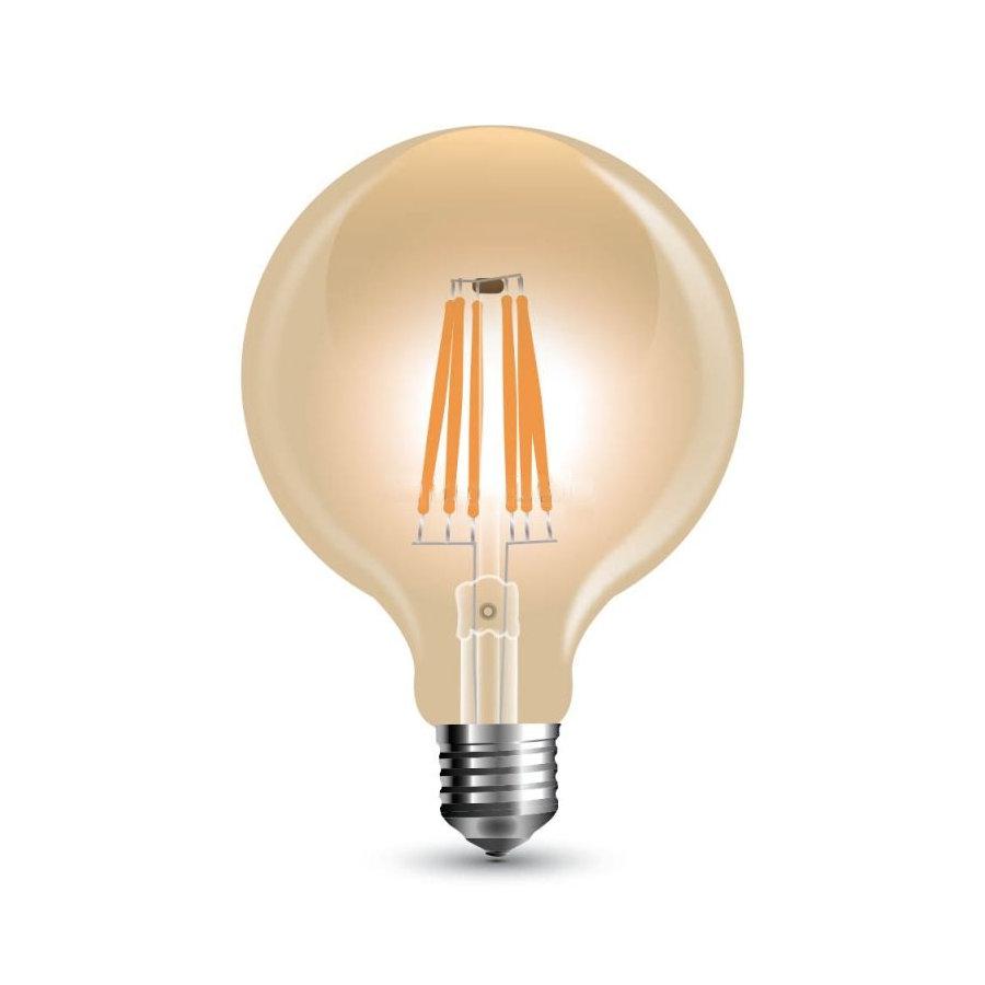 FILAMENT žiarovka - Globus - E27, 6W, 500lm, Teplá biela