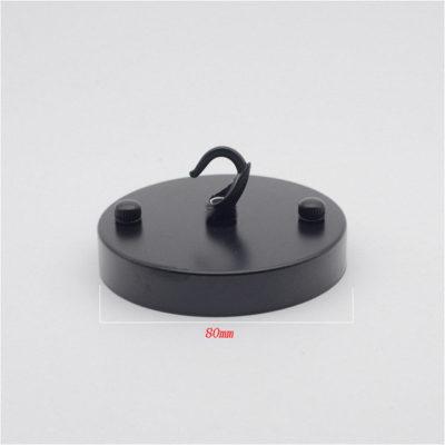 Jednoduchý kovový držiak na svietidlo • so závesným hákom • čierna (2)