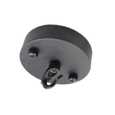 Jednoduchý kovový držiak na svietidlo • so závesným hákom • čierna (3)