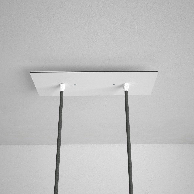 Obdĺžniková stropná rozeta, 30 x 12 cm s 2 otvormi, kovová, biela farba (3)