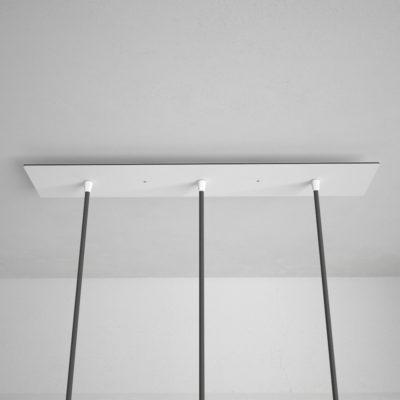 Obdĺžniková stropná rozeta, 60 x 12 cm s 3 otvormi, kovová, biela farba (4)