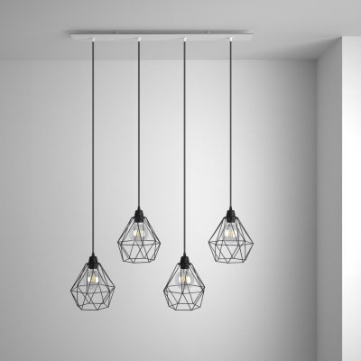 Obdĺžniková stropná rozeta, 90 x 12 cm so 4 otvormi, kovová, biela farba (2)