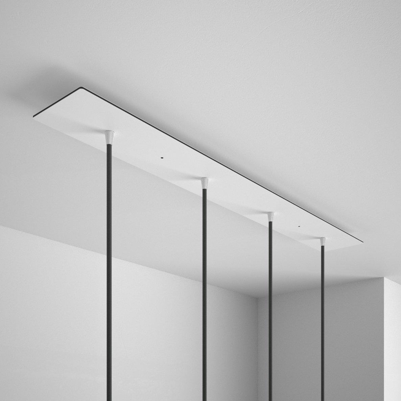 Obdĺžniková stropná rozeta, 90 x 12 cm so 4 otvormi, kovová, biela farba (3)