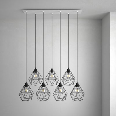 Obdĺžniková stropná rozeta, 90 x 20cm so 7 otvormi, kovová, biela farba (2)