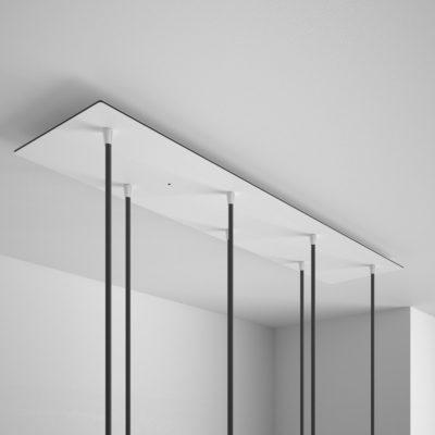 Obdĺžniková stropná rozeta, 90 x 20cm so 7 otvormi, kovová, biela farba (3)