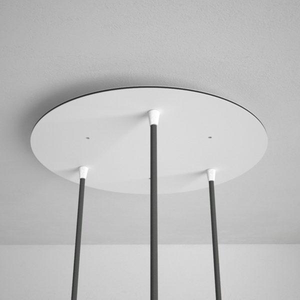 Okrúhla stropná rozeta, 35 cm s 3 otvormi, kovová, biela farba (1)