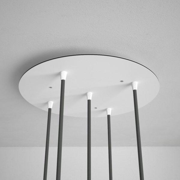 Okrúhla stropná rozeta, 35 cm s 5 otvormi, kovová, biela farba (3)