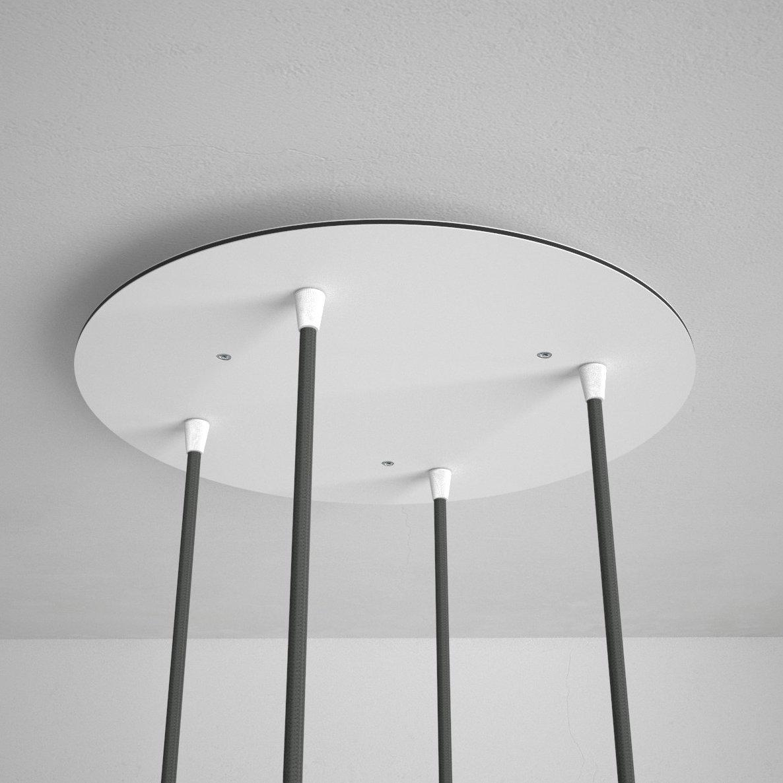 Okrúhla stropná rozeta, 35 cm so 4 otvormi, kovová, biela farba (1)