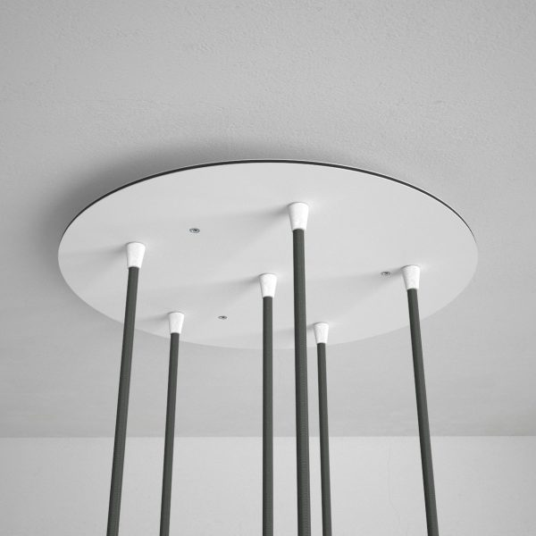 Okrúhla stropná rozeta, 35 cm so 6 otvormi, kovová, biela farba (3)