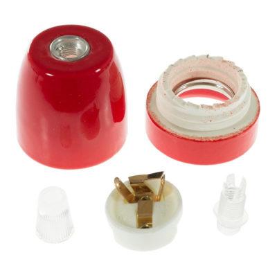 Porcelánová objímka s päticou E27 • Italy • červená (2)