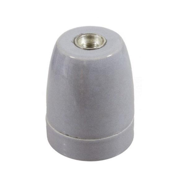 Porcelánová objímka s päticou E27 • Italy • šedá (1)