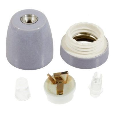 Porcelánová objímka s päticou E27 • Italy • šedá (2)