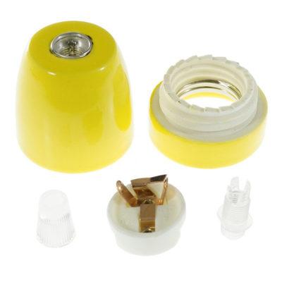 Porcelánová objímka s päticou E27 • Italy • žltá (2)
