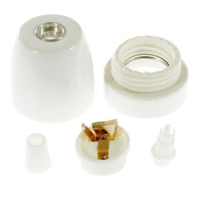 Porcelánová objímka s päticou E27 • Italy • biela (2)