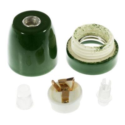 Porcelánová objímka s päticou E27 • Italy • zelená (2)