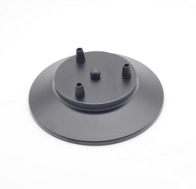 Závesný okrúhly stropný držiak, kovový, 3 pätice, čierna farba