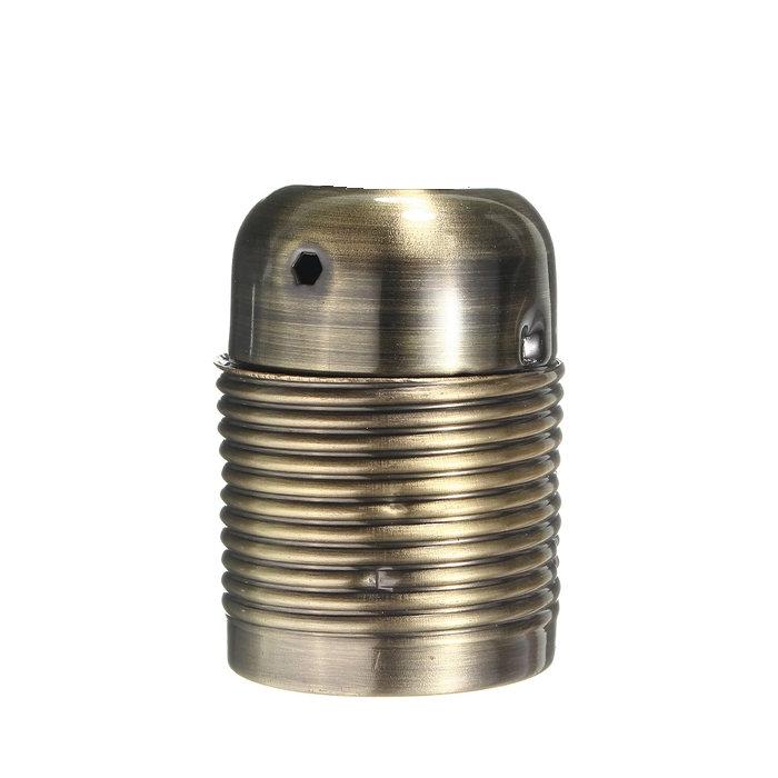 Retro kovová objímka s plastovým držiakom kábla v staromosádznej farbe (2)