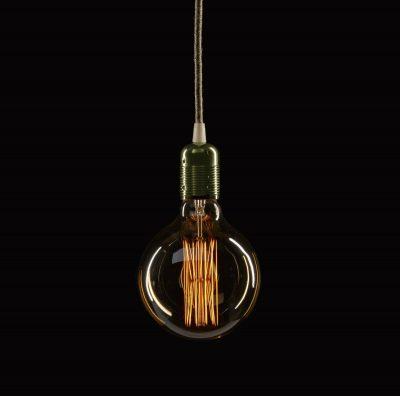Retro kovová objímka s plastovým držiakom kábla v tmavo zelenej farbe (2)