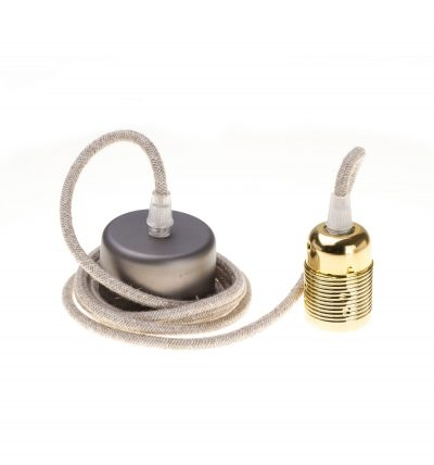 Retro kovová objímka s plastovým držiakom kábla v zlatej farbe (1)