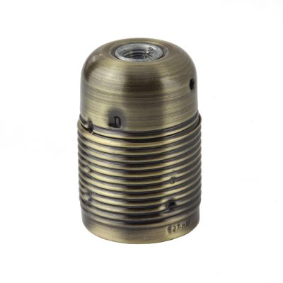 Retro kovová objímka s plastovým držiakom kábla v staromosádznej farbe