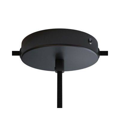 Stropná rozeta pre 1 svietidlo a 2 bočnými otvormi, 12cm, kov, čierna farba (1)