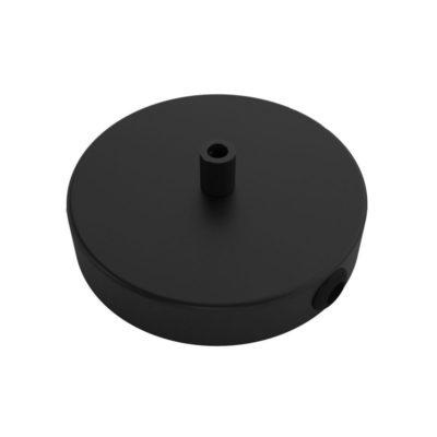 Stropná rozeta pre 1 svietidlo a 2 bočnými otvormi, 12cm, kov, čierna farba (4)