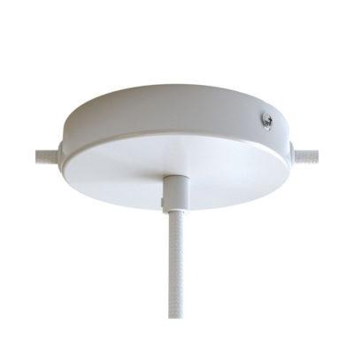 Stropný držiak pre 1 svietidlo a 2 bočnými otvormi, 12cm, kov, biela farba (4)