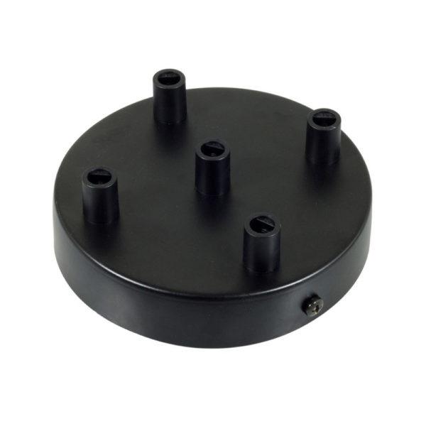 Stropný držiak pre 5 svietidiel, 12cm, kov, čierna farba (3)