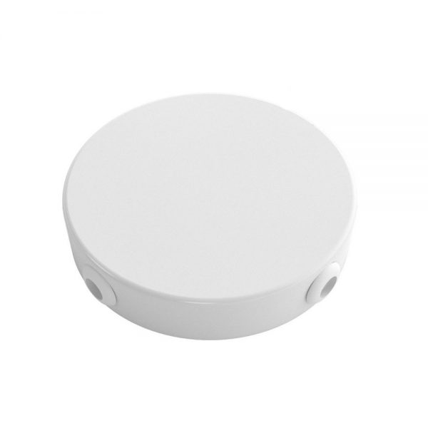 Stropný držiak so 4 bočnými otvormi, 12cm, kov, biela farba (4)