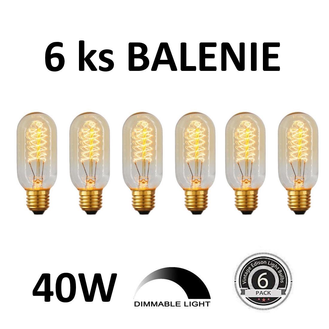 EDISON žiarovka - SPIRAL TUNNEL - E27, 40W, 110lm - BALENIE 6 KUSOV