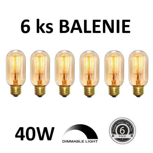 EDISON žiarovka - TUNNEL - E27, 40W, 110lm - BALENIE 6 KUSOV
