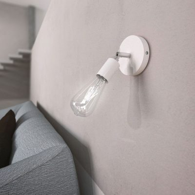 Kovová prispôsobiteľná lampa na stenu alebo strop, biela farba (3)