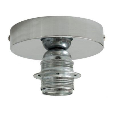 Kovové svietidlo na stenu alebo strop, možnosť pripojenia tienidla, chrómované (2)