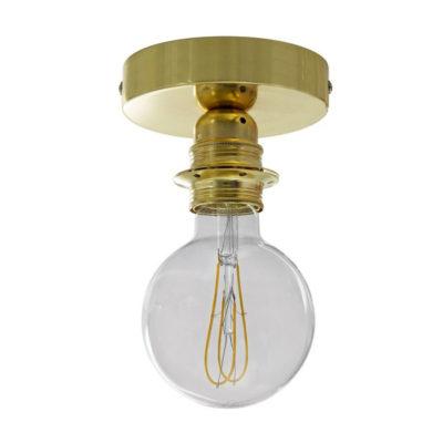Kovové svietidlo na stenu alebo strop, možnosť pripojenia tienidla, mosádzna farba (1)