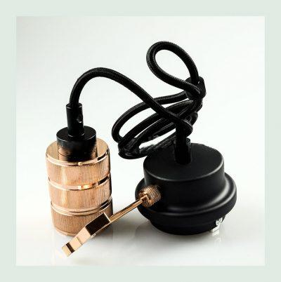 Závesné kovové svietidlo s držiakom pre zavesenie kábla, ružovo zlatá farba (1)