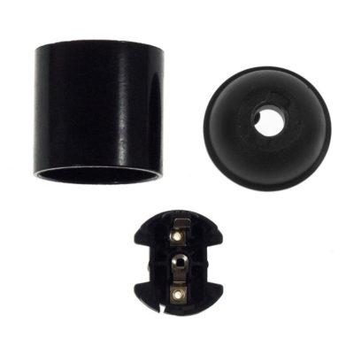 E27 hladká objímka z bakelitu, čierna farba (1)