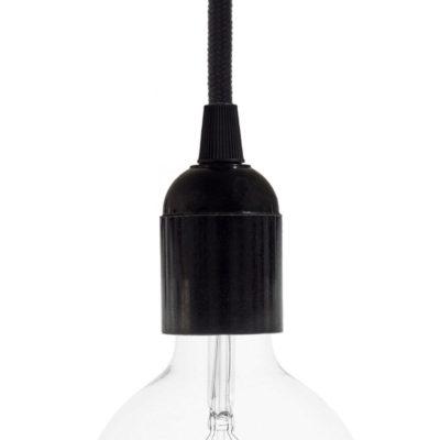E27 hladká objímka z bakelitu, čierna farba (2)