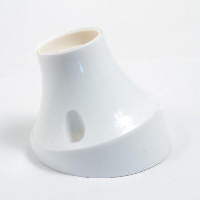 Šikmá stropná a nástenná objímka z termoplastu, E27, biela farba (1)