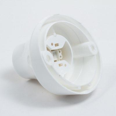 Šikmá stropná a nástenná objímka z termoplastu, E27, biela farba (2)